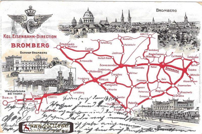 Königliche Direction der Ostbahn zu Bromberg.Pocztówka przedstawiająca Królewską Dyrekcję Kolei Wschodniej Bydgoszcz.16.11.1904 rok