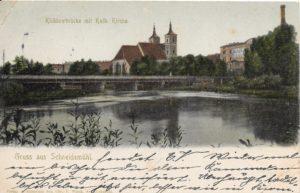Kościół św. Janów, Küddowbrücke mit kath.Kirche u.Möbelfabrik, 23.6.1905