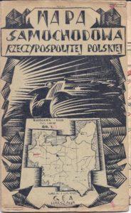 """Mapa samochodowa z 1928 r. Wydana nakładem wydawnictwa """"Gea"""" w warszawie. Format mapy rozłożonej - 65,5 x 56 cm. Złożonej - 23,5 x 14,5 cm.  Mapa w skali 1 : 400 000 obejmuje obszar od Piły (Schneidemuhl) i Torunia na północy po Wrocław (Breslau) i Wieluń na południu."""