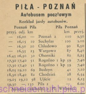 Rozkład jazdy autobusów w: Piła Mówi, 7 lipca 1946, Rok 1, nr 1, str. 10