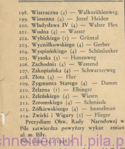 Obwodowa Rada Narodowa zatwierdziła polskie nazwy ulic w mieście w: Piła Mówi, 7 lipca 1946, Rok 1, nr 1, str. 10