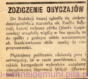 Zdziczenie obyczajów w: Piła Mówi, 12 stycznia 1947, rok 2, nr 2, str. 8.