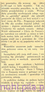 Autobus na gapę, w: Piła Mówi, 24 listopada 1946 roku, rok 1, nr 12 (13), str. 5