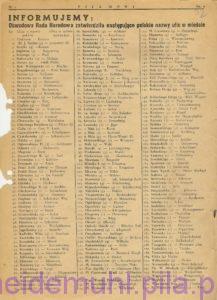 Obwodowa Rada Narodowa zatwierdziła polskie nazwy ulic w mieście w: Piła Mówi, 7 lipca 1946, Rok 1, nr 1, str. 9
