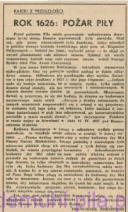 Żmidziński F., Rok 1626-pożar Piły, w: Głos Pilski,kwiecień 1960, rok II, nr 4 (12), str. 4