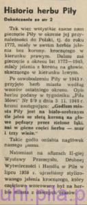 Żmidziński F., Historia herbu miasta Piły, w: Głos Pilski, nr 1 (9) rok II, str 4