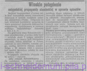 Włoskie potępienie antypolskiej propagandy w sprawie optantów, w: Goniec Wielkopolski, 8 sierpnia 1925 r., nr 182, rok 48, str. 2