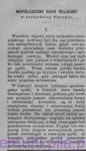 Współczesny ruch religijny w zachodniej Europie, w: Prawda, tygodnik polityczny, społeczny i literacki, 19 (7) maja 1883 r., nr 20, rok III, str. 2